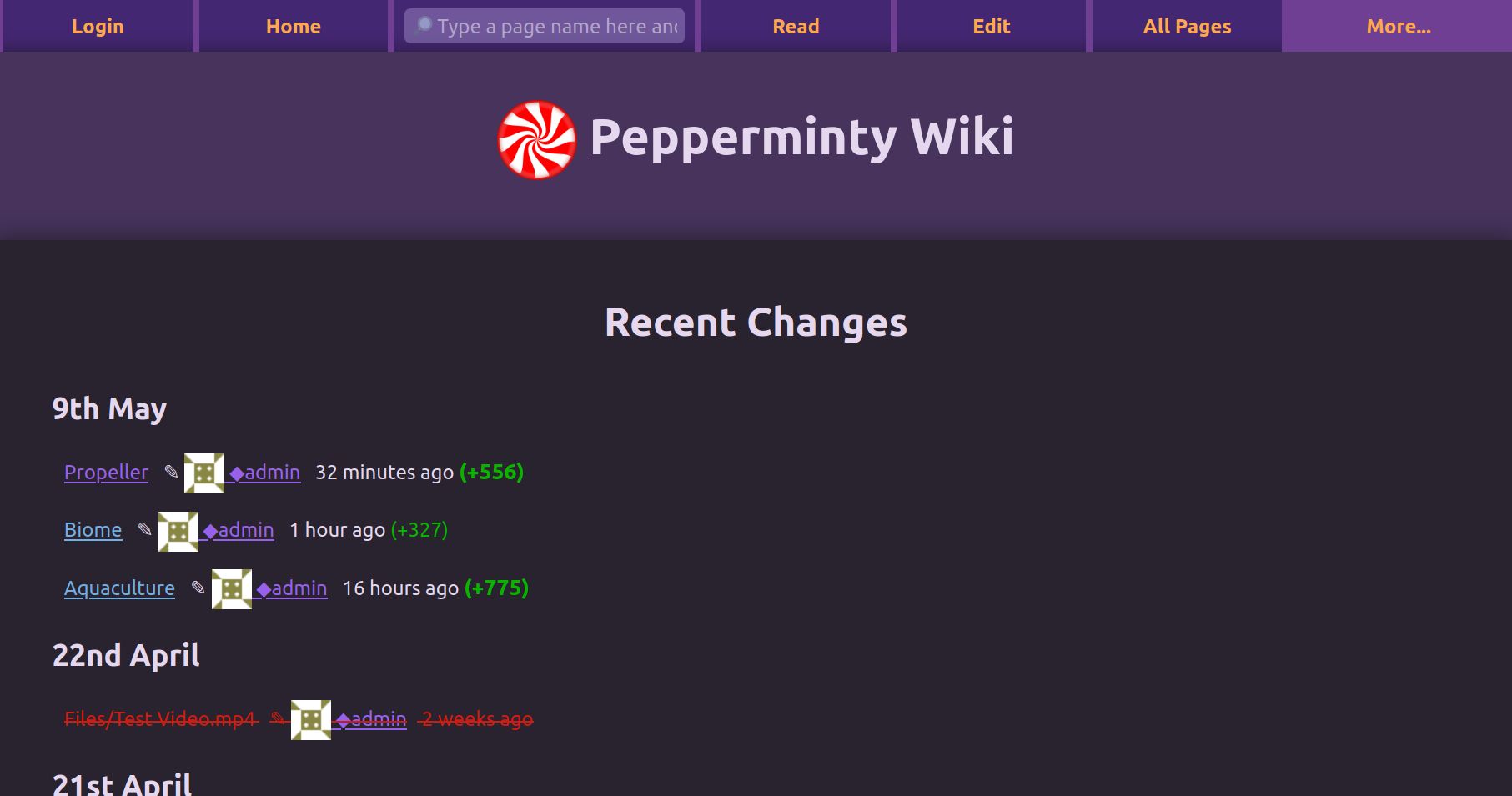 Screenshot showing the recent changes page