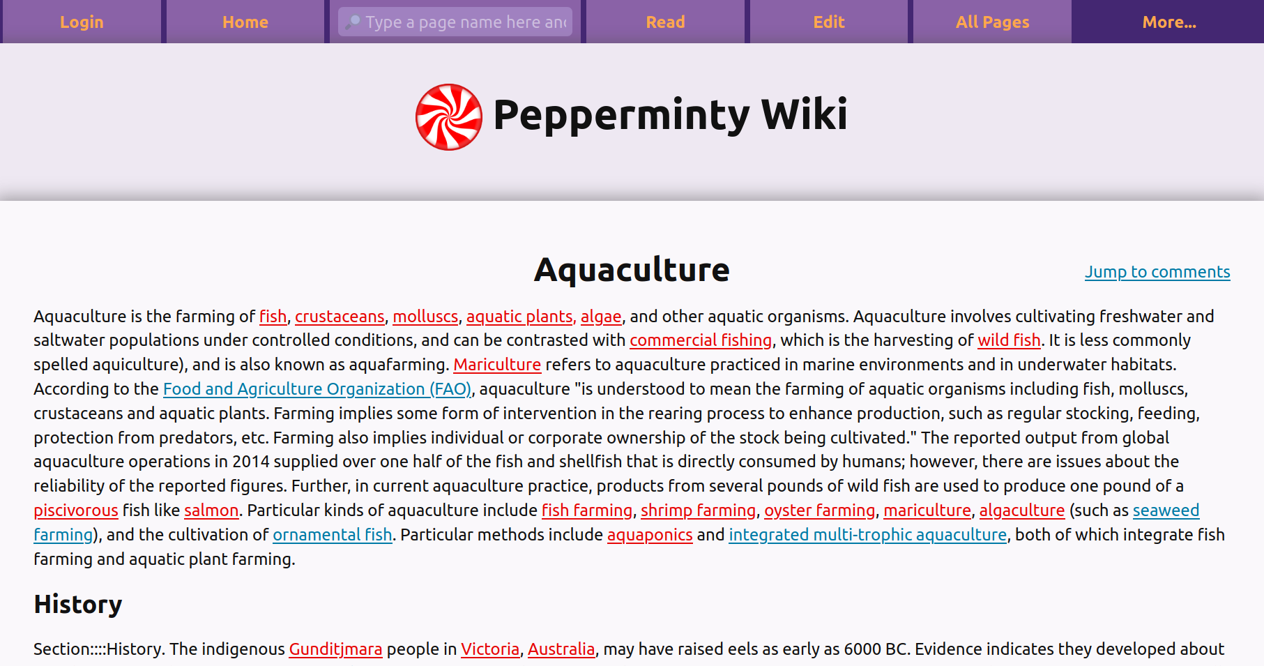 A screenshot of Pepperminty Wiki